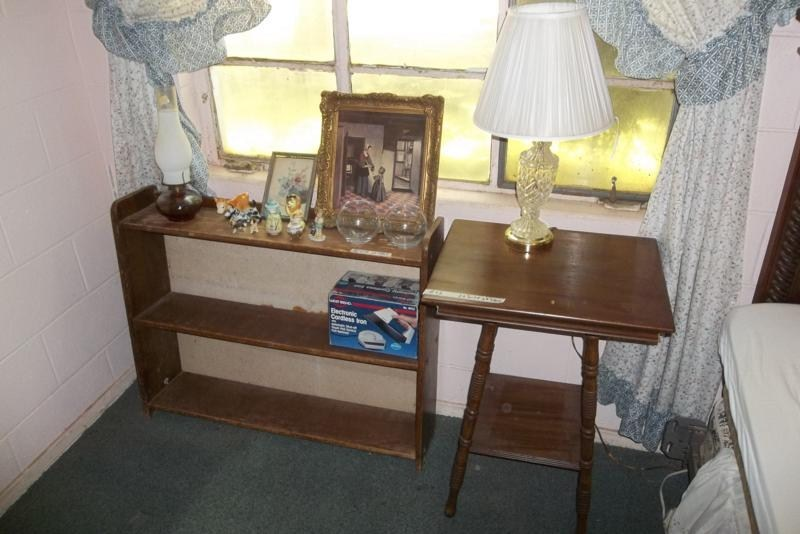 Lot #42 Antique Side Table & Shelf with contents (main image)