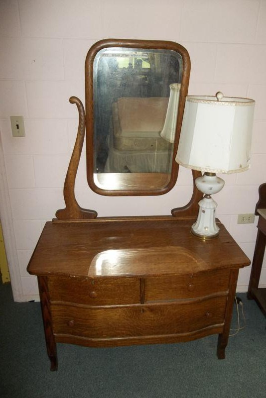 Lot #44 Antique Wash Table or Dresser with Mirror (main image)