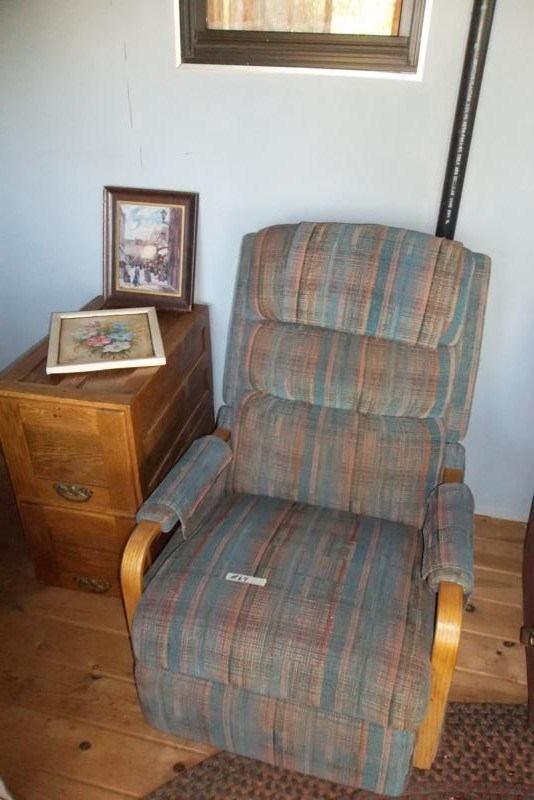 Lot #64 LazyBoy Recliner, Oak File Cabinet & 2 Original Painting (main image)