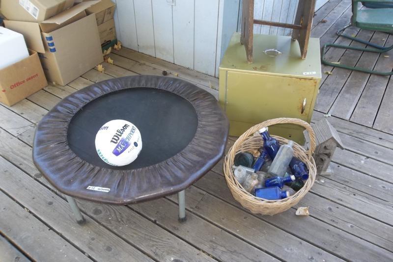 Lot #72 Small Trampoline, Food Dehydrator, Basket of Insulators (main image)