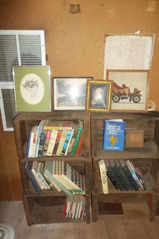 UPSTAIRS Lot #142 6 Old Wood Fruit Crates with Vintage Books & Pictures (main image)