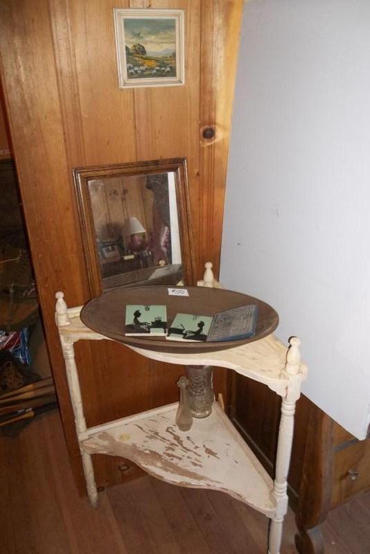 UPSTAIRS Lot #150 Wood Corner Shelf, Old Bowl, 2 Gladdin McBean Tiles (main image)