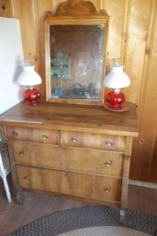 UPSTAIRS Lot #151 Antique Dresser w/ Mirror, Oil Lamps (main image)