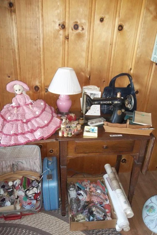UPSTAIRS Lot #154 Antique Sewing Machine, Odds & Ends (main image)