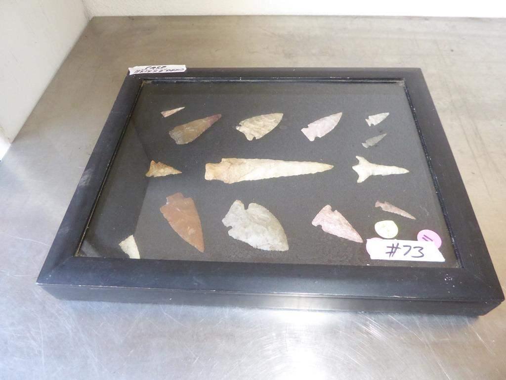 Lot # 73 - Authentic Antique Native American Arrowheads Collection in Case (main image)