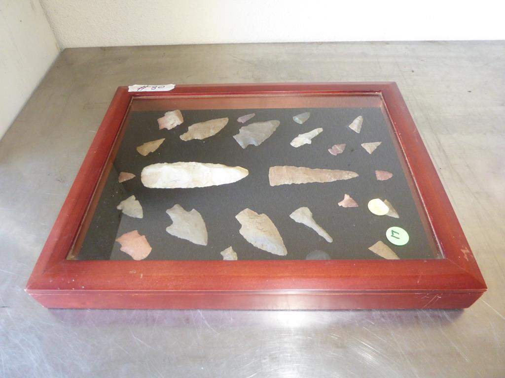 Lot # 80 - Authentic Antique Native American Spear Heads & Arrowheads Collection in Case (main image)
