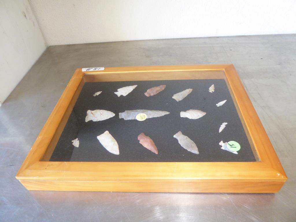 Lot # 81 - Authentic Antique Native American Spear Heads & Arrowheads Collection in Case (main image)
