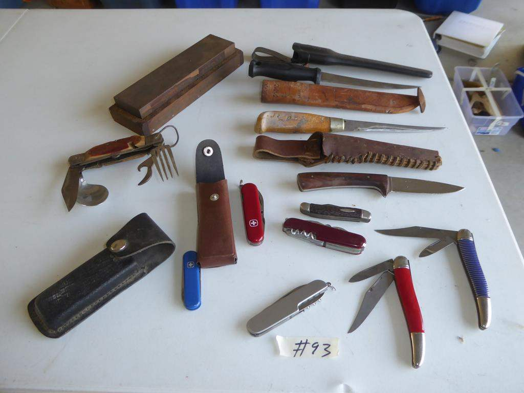 Lot # 93 - Vintage Knife Collection & Sharpening Stone (main image)