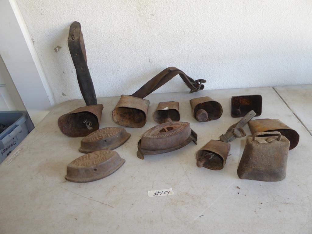 Lot # 104 - Vintage Cowbells & Sad Irons (main image)