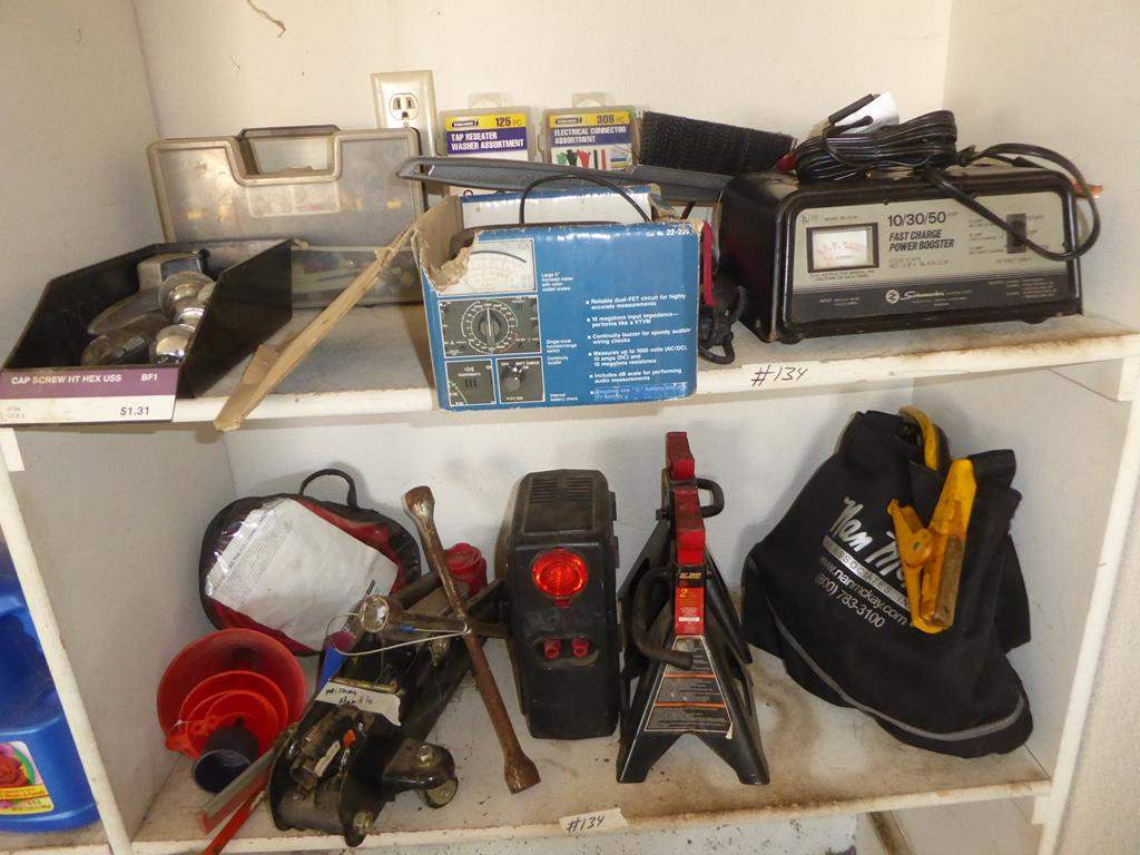 Lot # 134 - Hitch Balls, Washers, Connectors, Multitester, Power Booster, Jack & Compressor (main image)