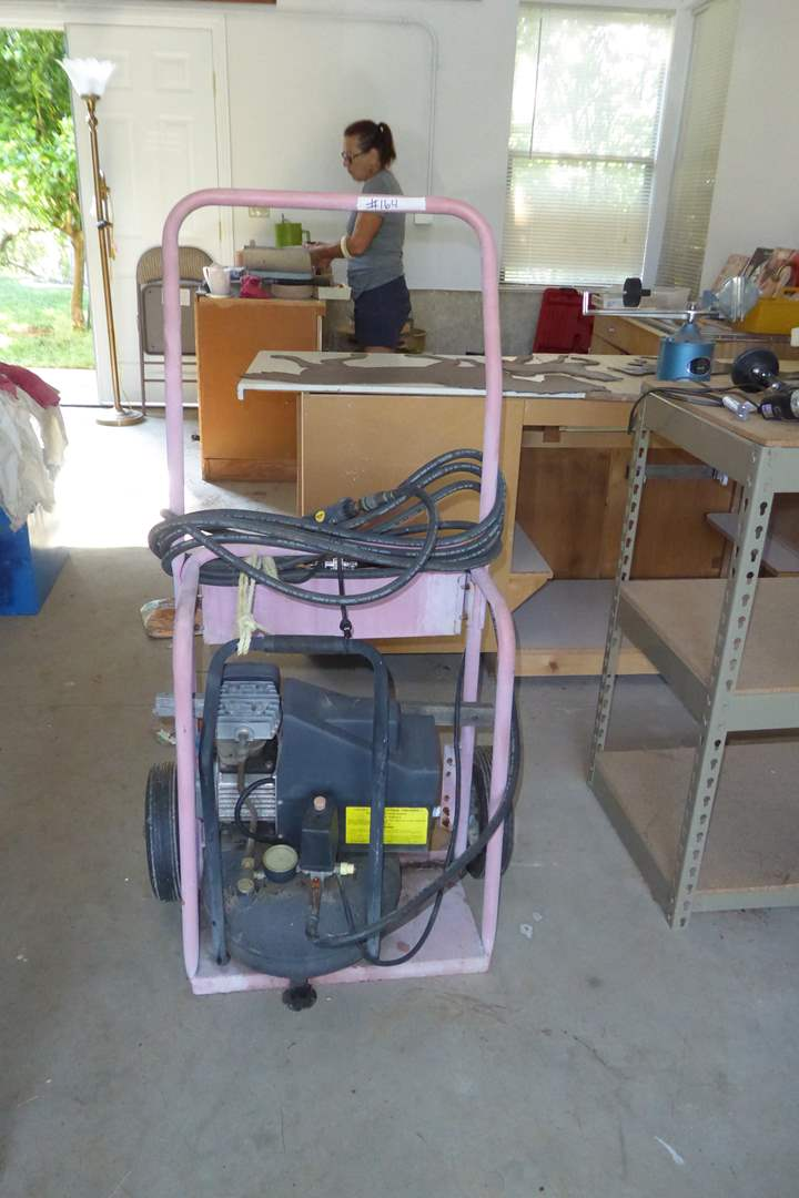 "Lot # 164 - ""Central Pneumatic"" 4 Gallon Pancake Compressor  (main image)"