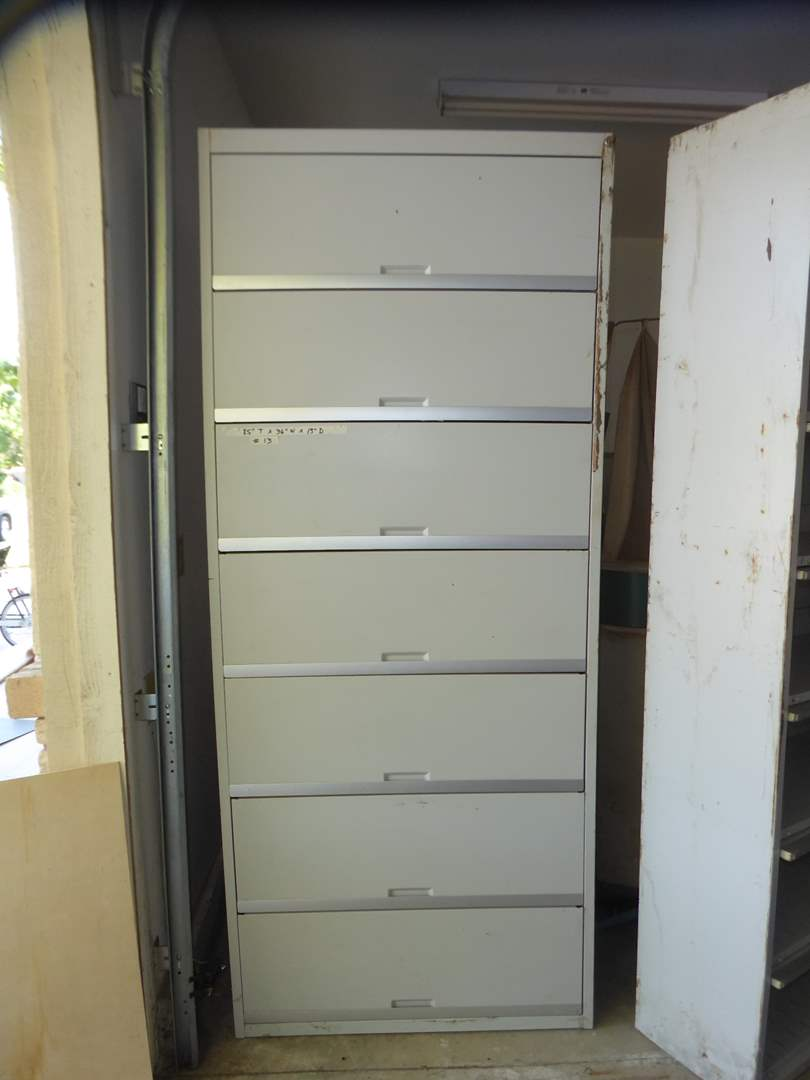 "Lot # 13 - ""Tab"" Metal Storage Cabinet  W/Key (main image)"
