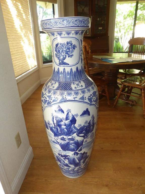 Lot # 50 - Very Large Blue & White Oriental Floor Vase (main image)
