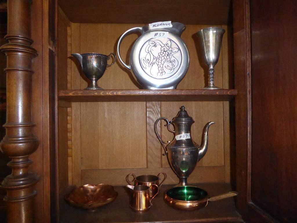 Lot # 57 - Vintage Aluminum Pitcher, Silver Plate Goblet, Coffee Pot, Copper Bowl, Odel Kobber Pan & Copper Creamer & Sugar (main image)