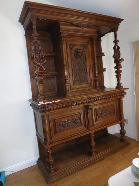 Lot # 58 - Fabulous 1800`s Antique Henry II Country French Renaissance Hunt Style Sideboard / Buffet w/Detailed Carvings (main image)