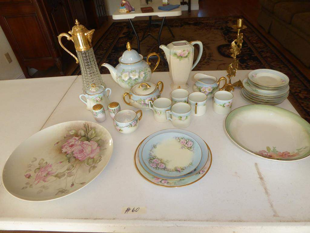 Lot # 60 - Vintage Hand Painted Porcelain Dishes & Coffee Pots (main image)