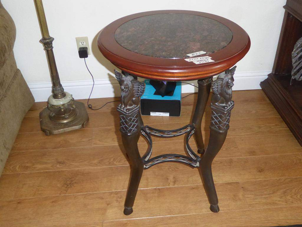 Lot # 62 - Marble Top Winged Lion Accent Table (main image)