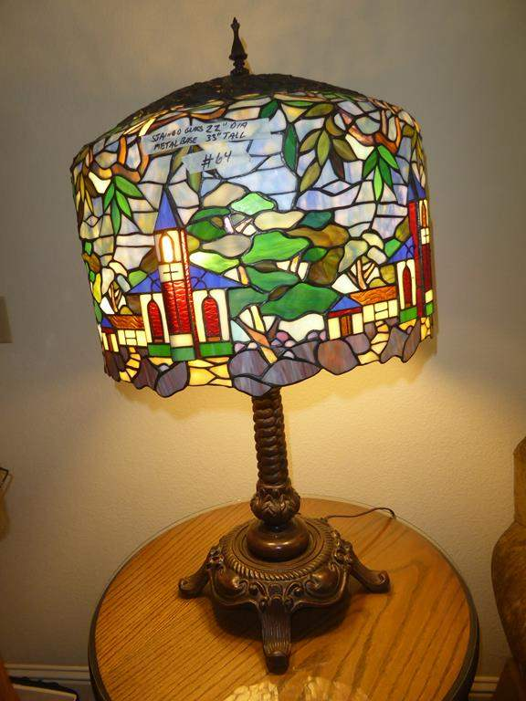 Lot # 64 - Beautiful Large Tiffany Style Leaded Stained Glass Church Motif Table Lamp (main image)