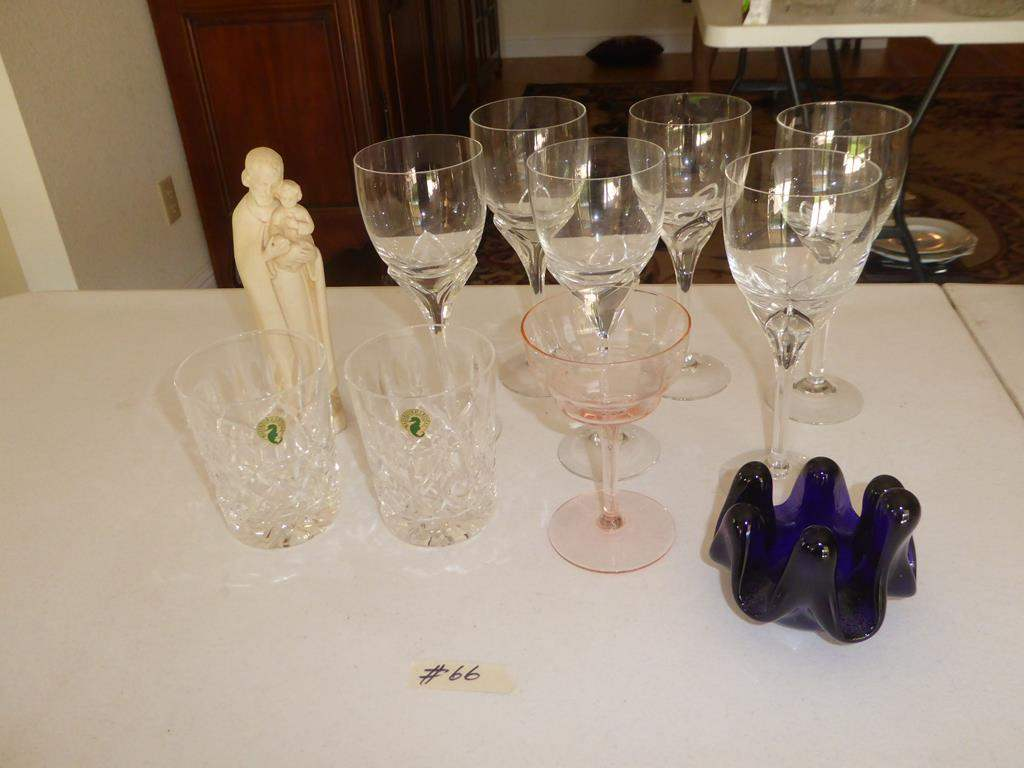 Lot # 66 - Two Waterford Crystal Tumblers, Six Rosenthal Wine Glasses, Hand Blown Norway Art Glass, Joseph & Baby Jesus Figure (main image)