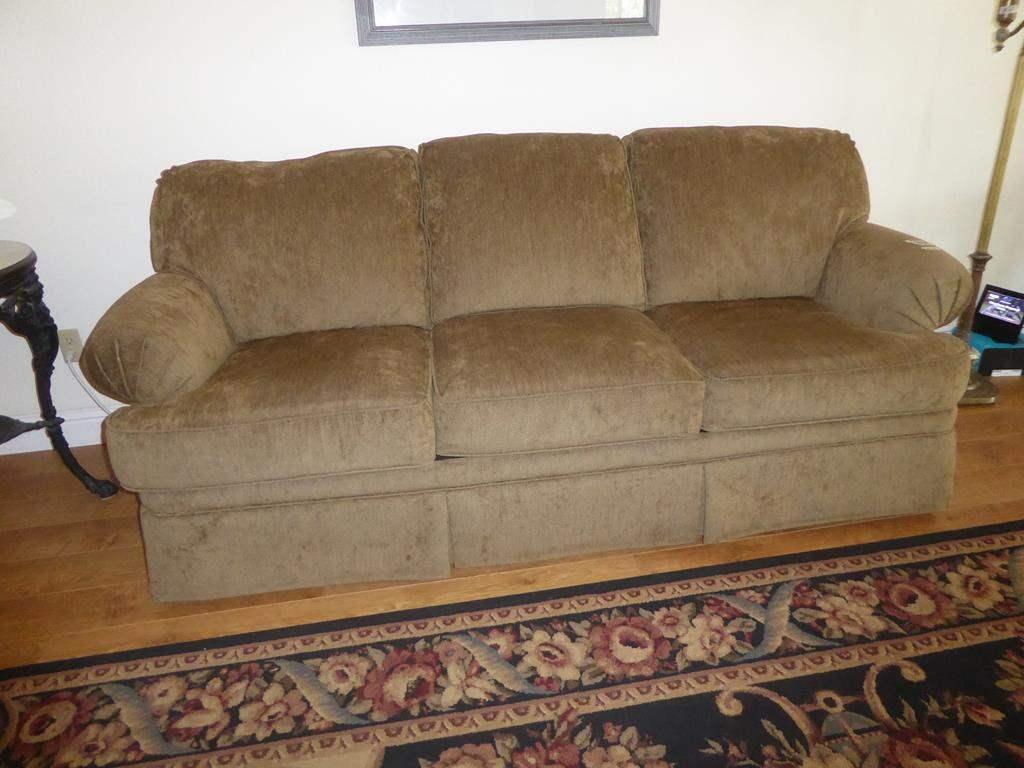Lot # 68 - Beige Upholstered Flexsteel Queen Size Sofa Bed (main image)