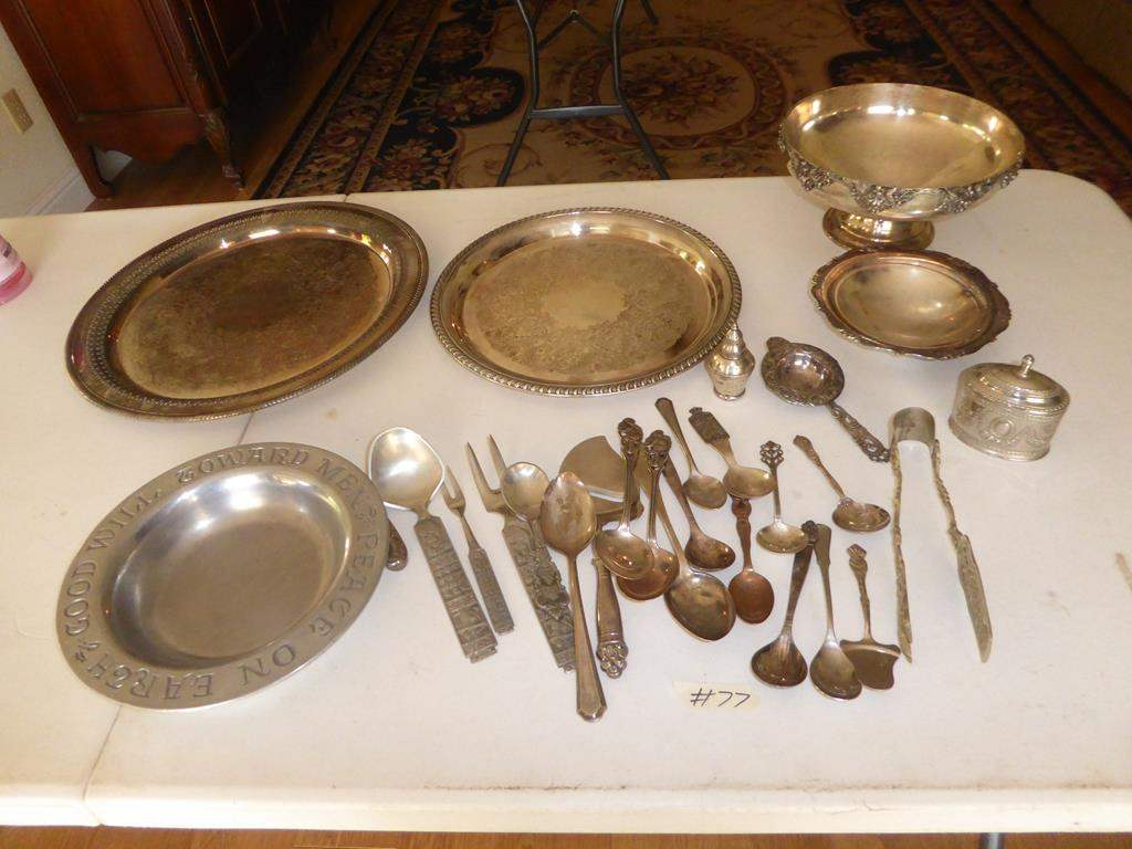 Lot # 77 - Teleflora Collectors Plate, Silver Plate Trays, Flatware & Weighted Sterling Salt Shaker (main image)
