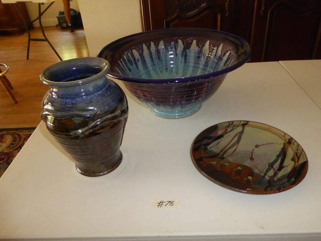 Lot # 78 - Signed Art Pottery Vase, Plate & Bowl (main image)