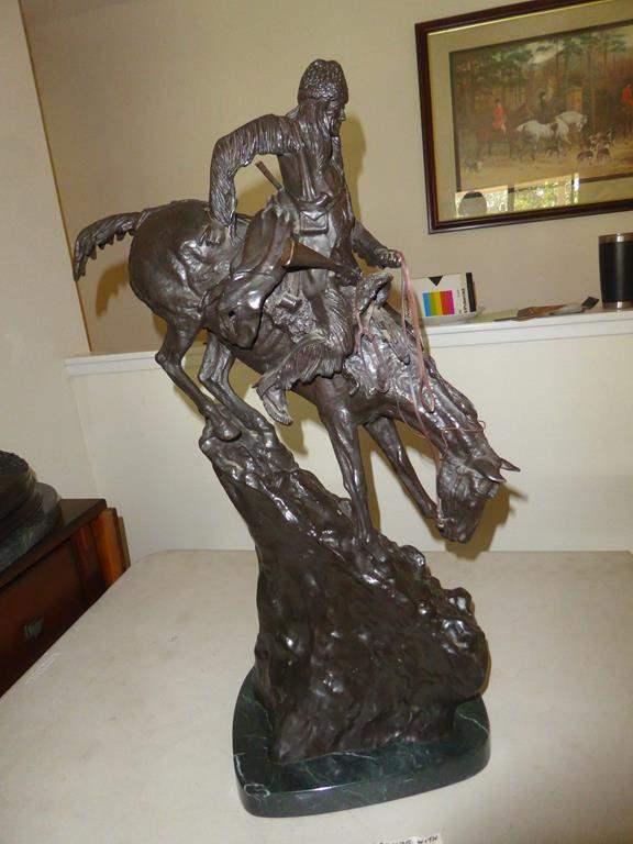 "Lot # 81 - ""The Mountain Man"" by Fredrick Remington Large Bronze Statue on Marble Base (main image)"