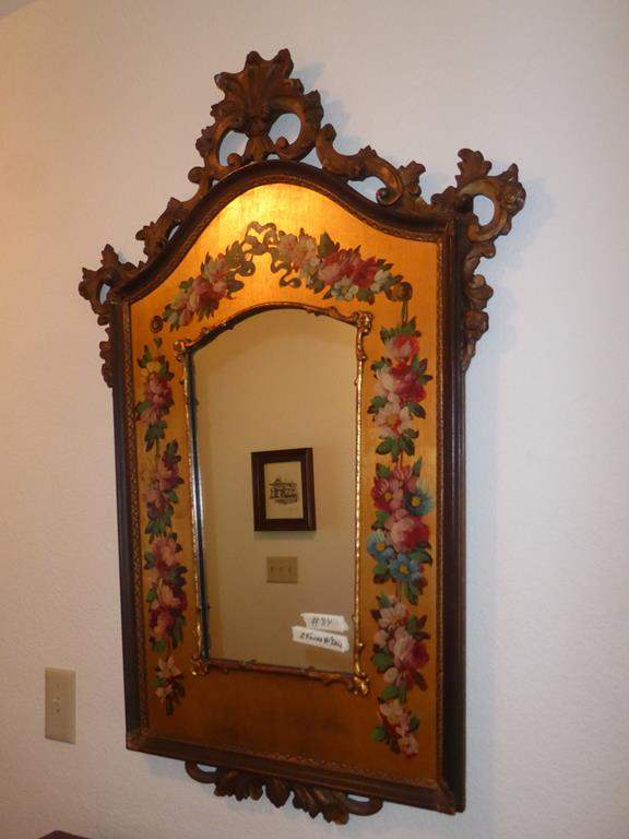 Lot # 84 - Beautiful Vintage Wood Framed Hand Painted Wall Mirror (main image)