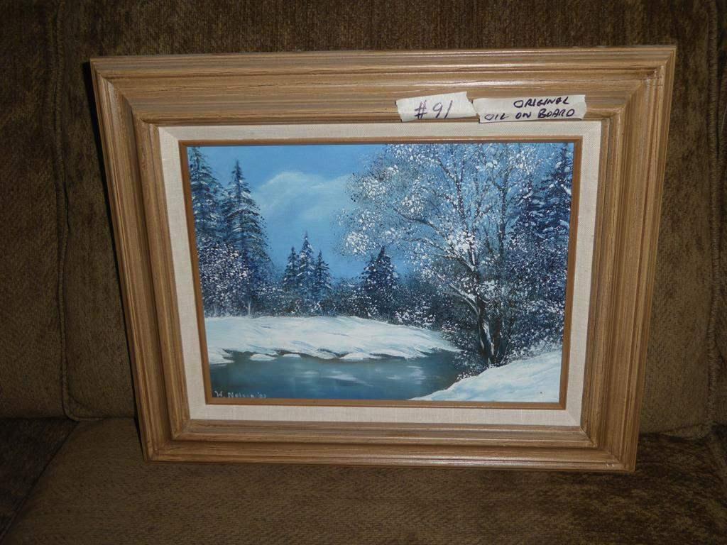 "Lot # 91 - Framed Vintage Original Oil on Board ""Winter Retreat"" by W. Nelson 1983 (main image)"