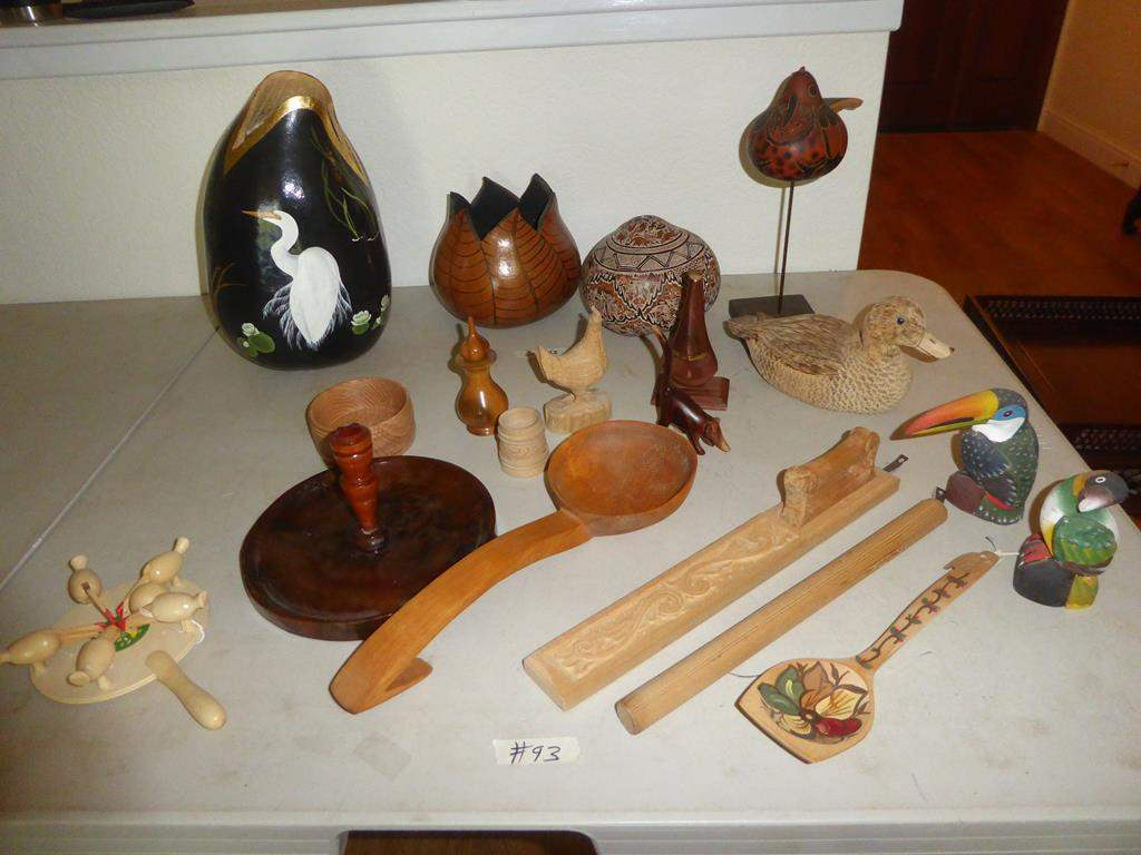 Lot # 93 - Hand Painted Gourds & Wood Art Pieces (main image)