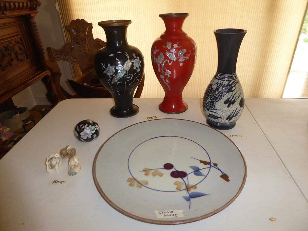 Lot # 94 - Vintage Asian Decor: Signed Stoneware Platter, Figurines, Inlaid Shell Metal Vases & Trinket Boxes (main image)