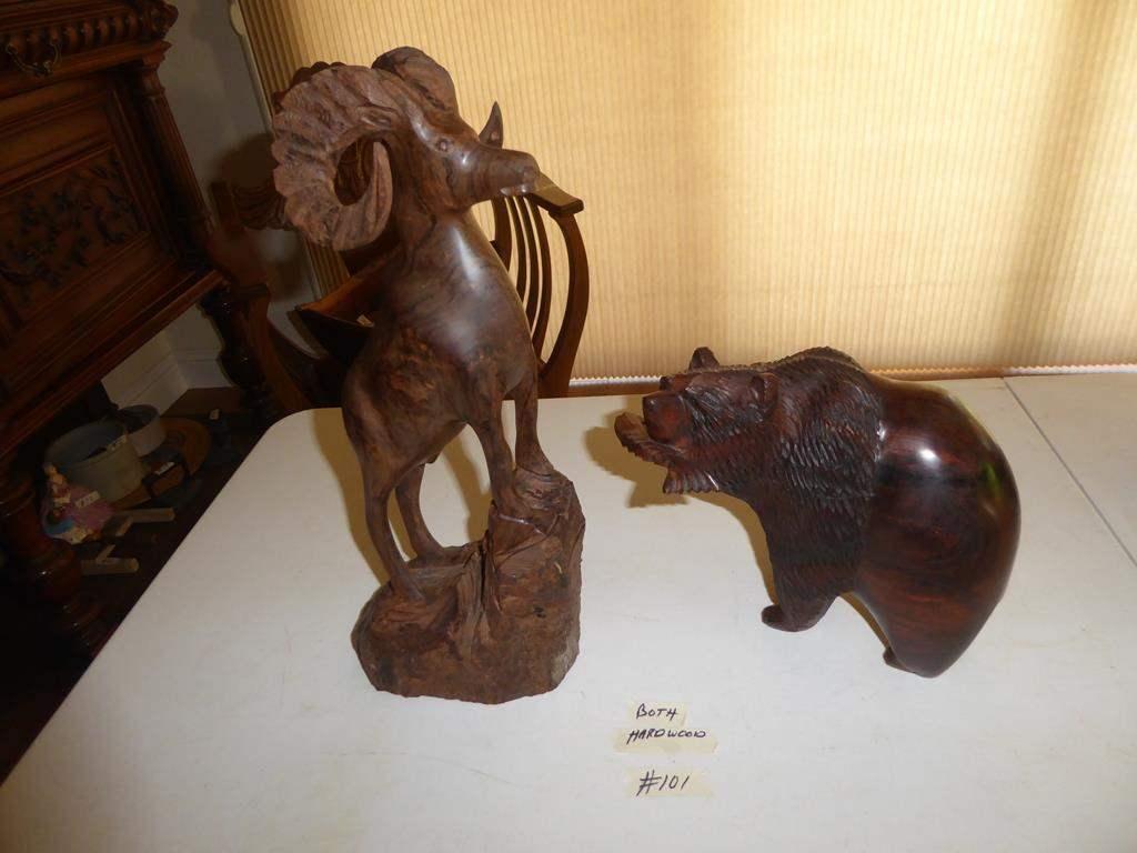 Lot # 101 - Hard Wood Carved Ram & Bear Statues (main image)