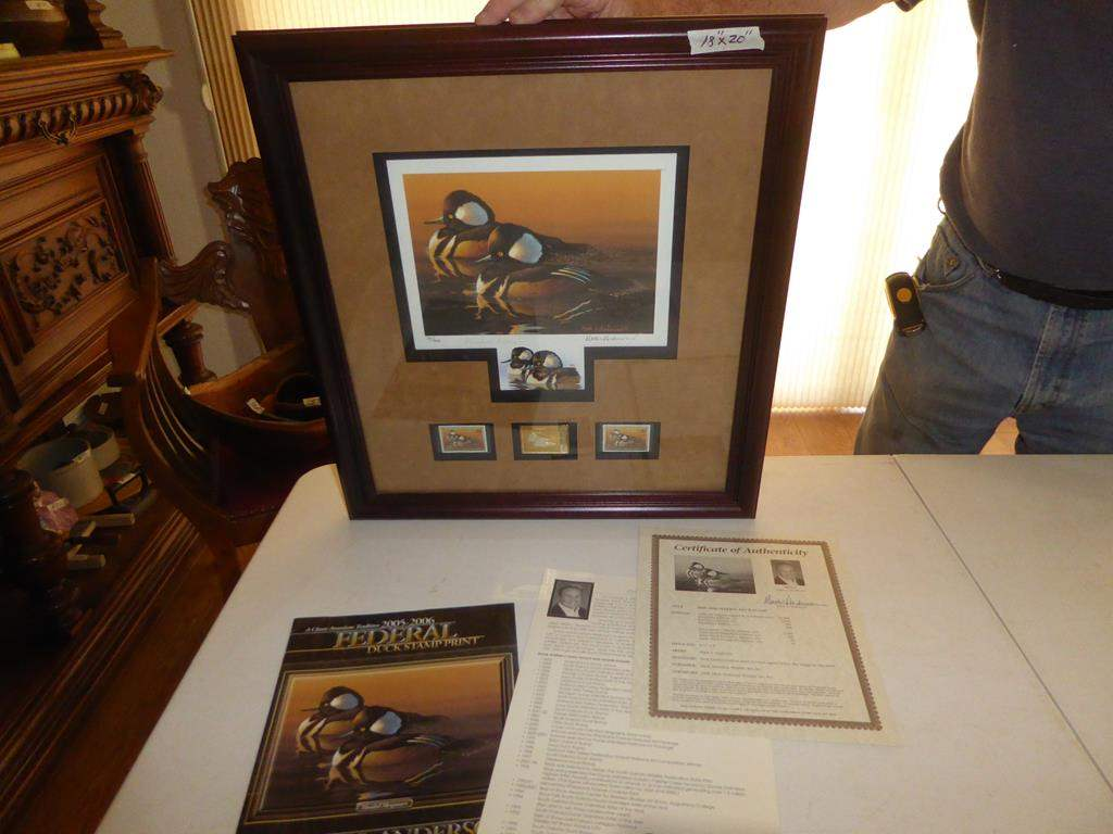 "Lot # 103 - 2005 - 2006 Framed Federal Duck Stamp Print ""President's Edition"" Signed by Mark Anderson 30/300 (main image)"