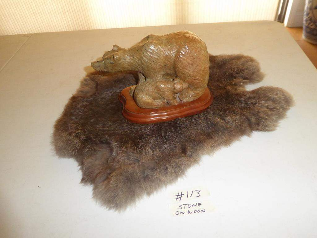 Lot # 113 - Carved Stone Bear on Wooden Base & Rabbit Fur Pelt (main image)