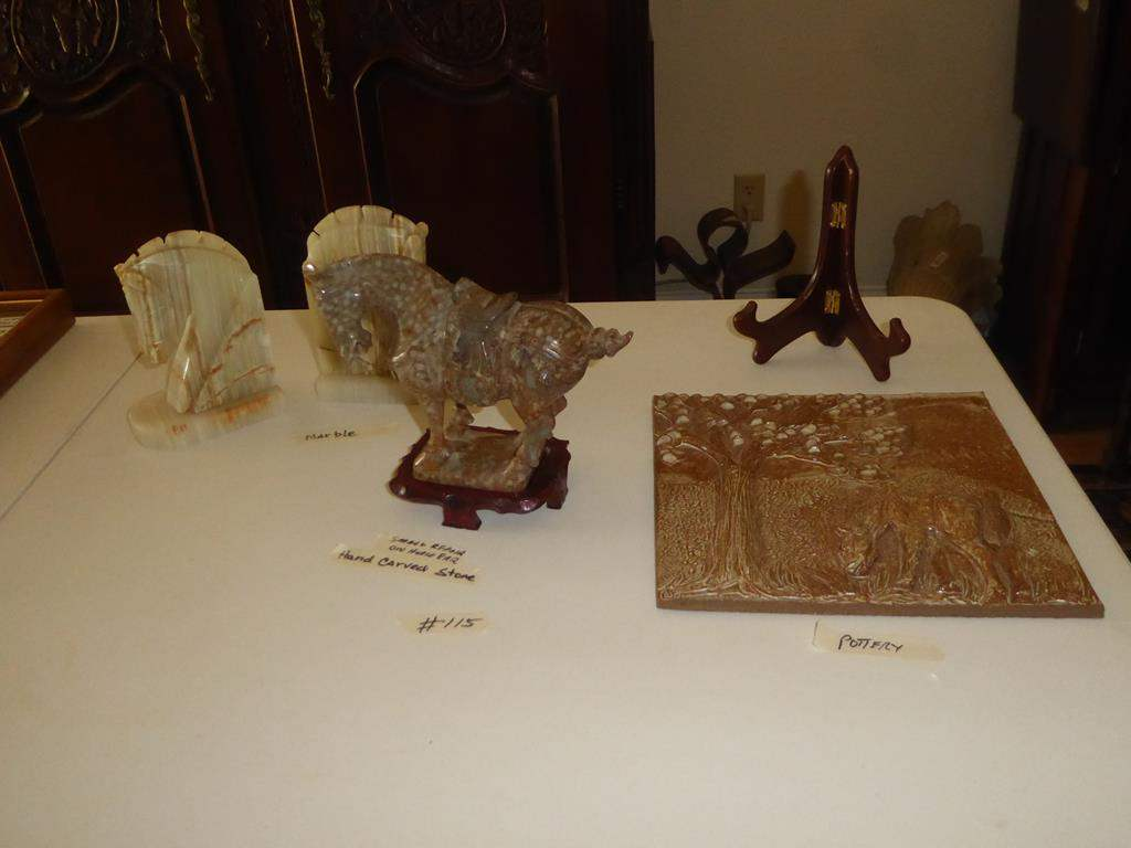 Lot # 115 - Pottery Horse Plaque, Hand Carved Stone Horse Figurine & Pair Marble Horse Bookends (main image)