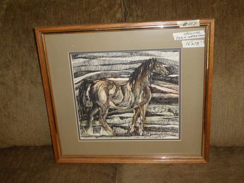 Lot # 117 - Framed Original Pen & Watercolor Horse Painting (main image)
