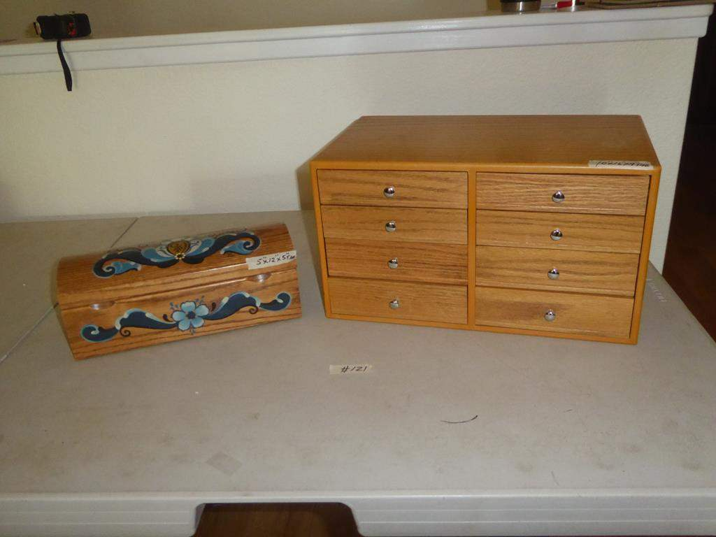 Lot # 121 - Norwegian Tole Painted Box by JoAnn Copeland & Wooden Jewelry Box  (main image)