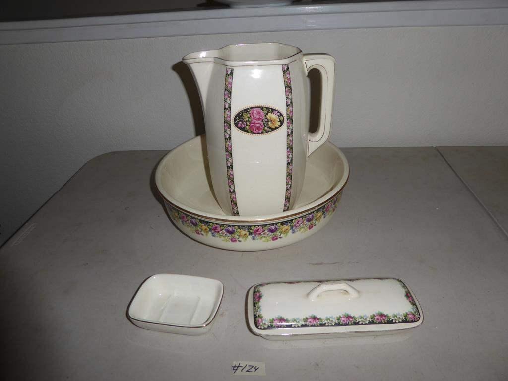 Lot # 124 - Lovely Vintage Belgium Pitcher & Wash Bowl Set + Soap Dishes (main image)