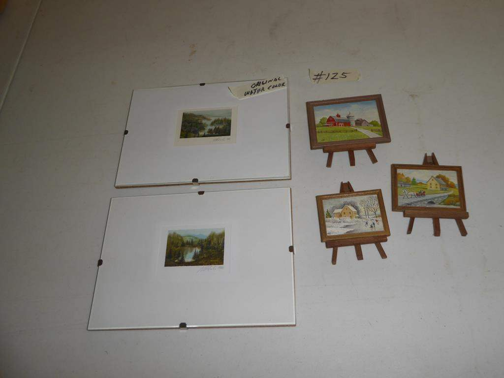 Lot # 125 - Tiny Watercolor Paintings & Tiny Paintings on Easels  (main image)