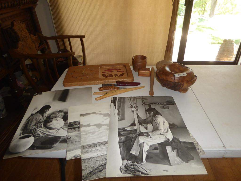 Lot # 126 - Native American Indian Prints, Burl Wood Bowl, Vintage Norway Potato Smasher, Buck Knife, Clock & Trinket Box (main image)