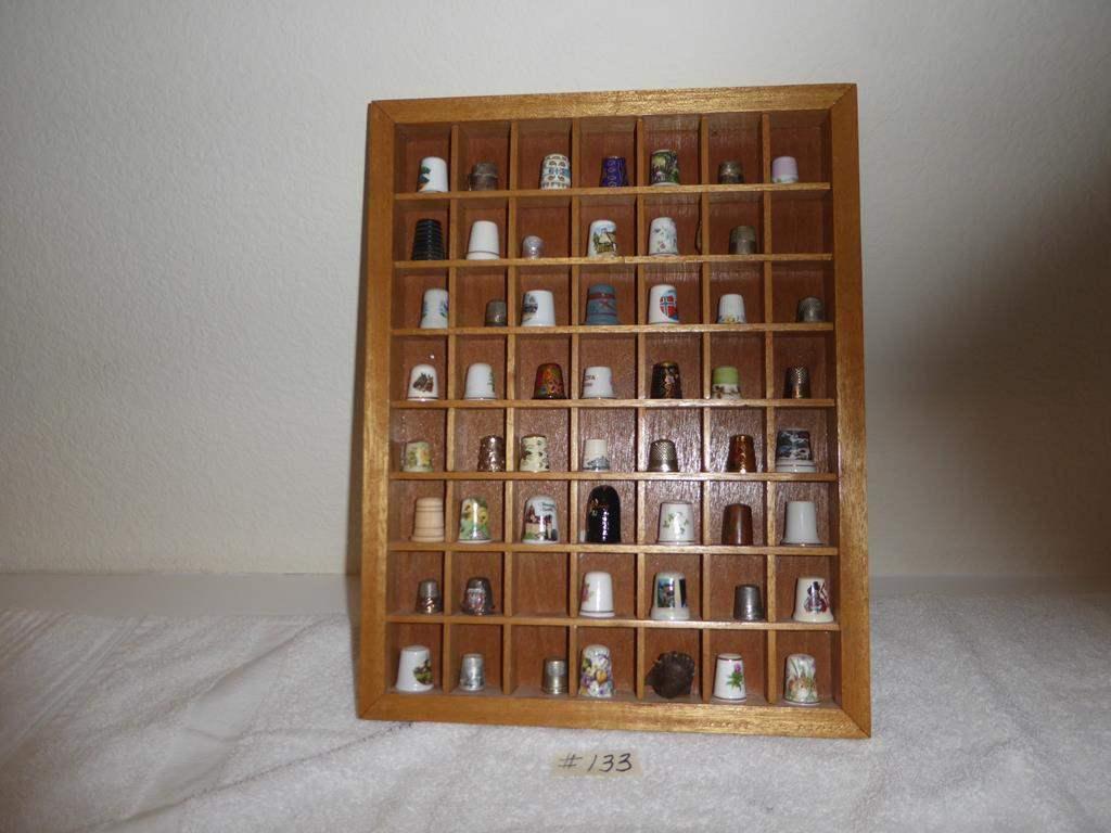 Lot # 133 - Vintage Sewing Thimbles & Miniature Shelf (main image)