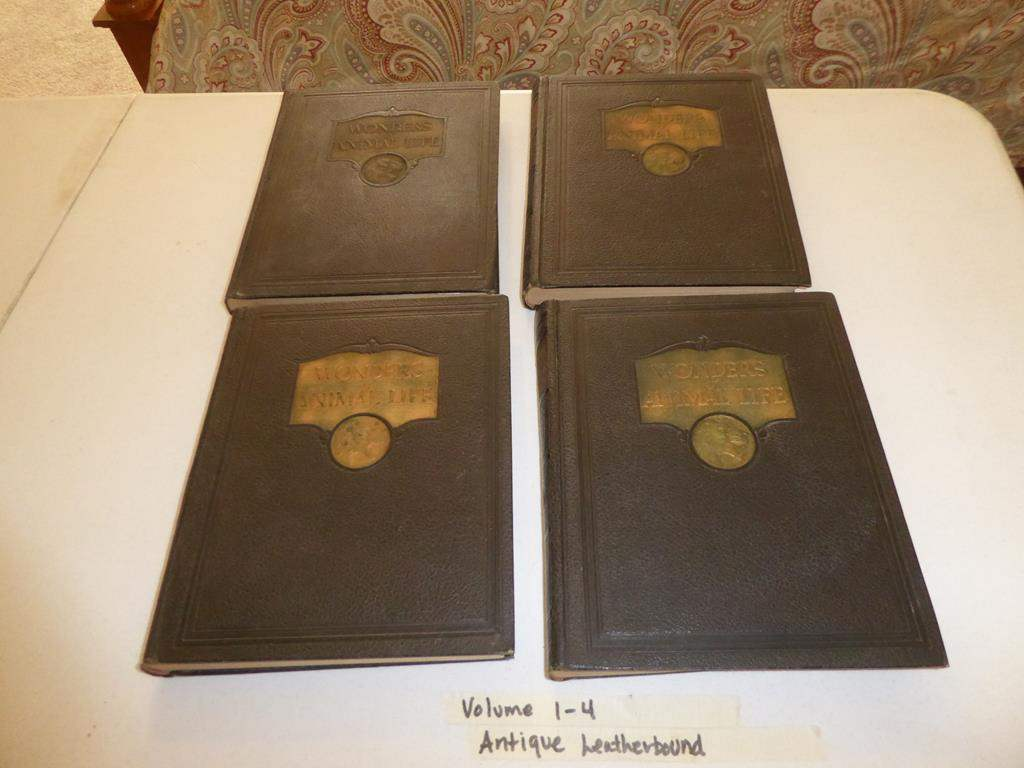 """Lot # 138 - Four Antique Leather Bound Books """"Wonders of Animal Life"""" Volumes 1-4 (main image)"""
