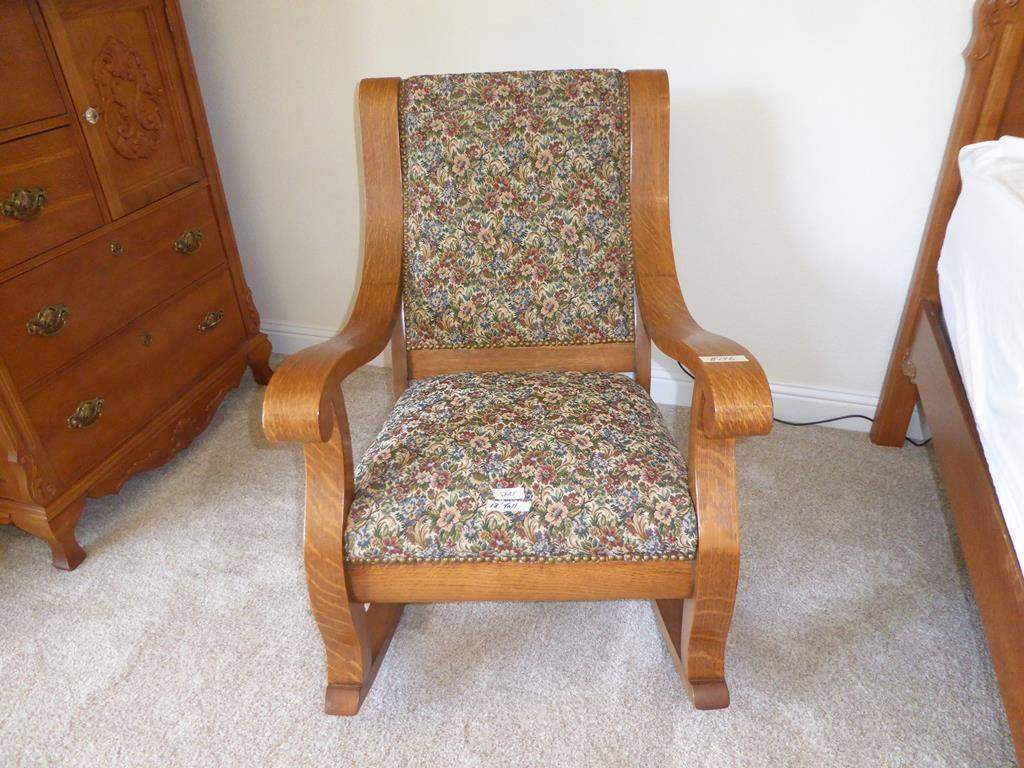 Lot # 146 - Antique Wooden Rocking Chair Upholstered w/Nailhead Accents (main image)