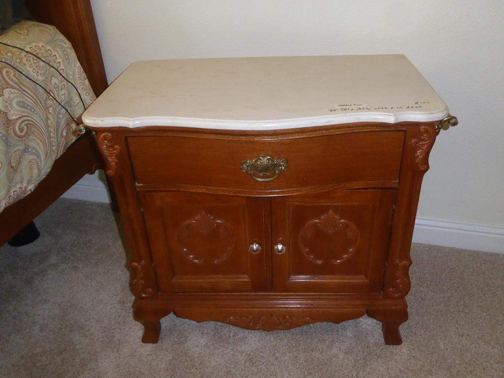 Lot # 150 - Marble Top Wooden Wash Stand (dovetailed drawer) (main image)