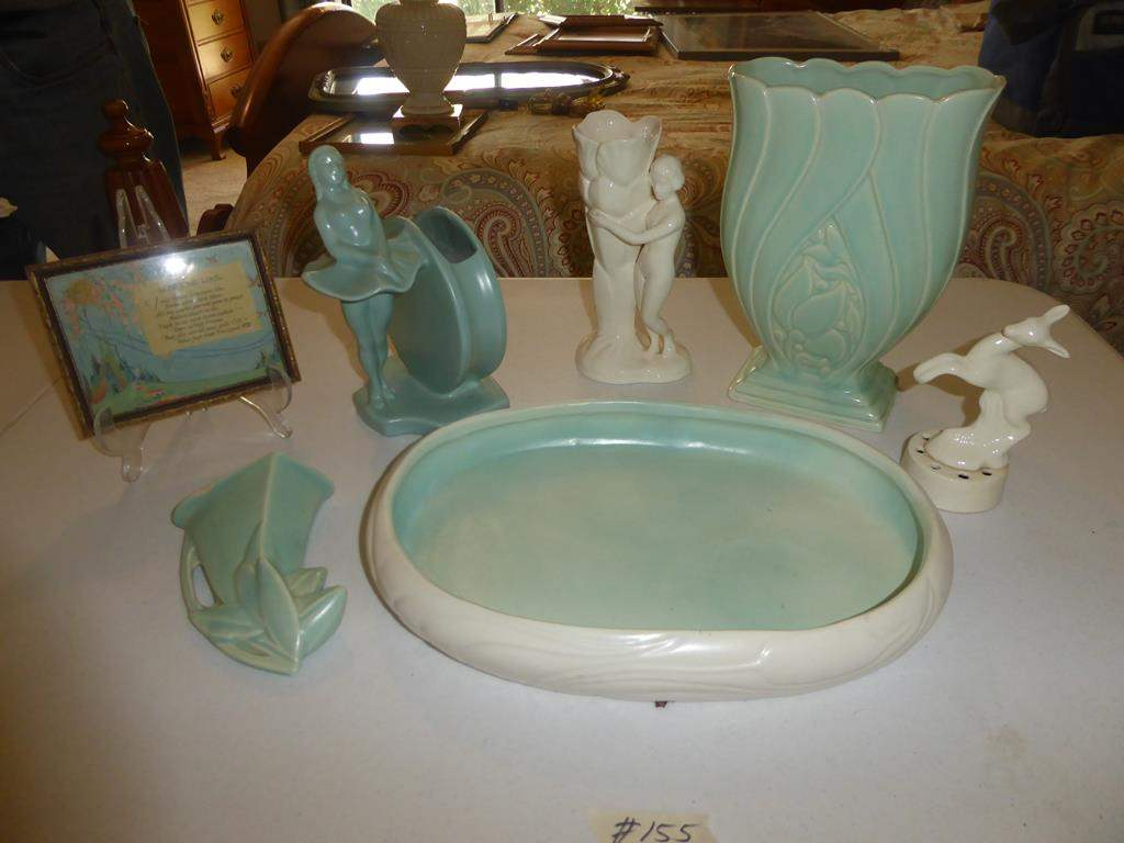 Lot # 155 - Vintage Matte Green Pottery Tray, Wall Vase, Ballerina Vase, Nude Girl Vase, Deer & Picture (main image)