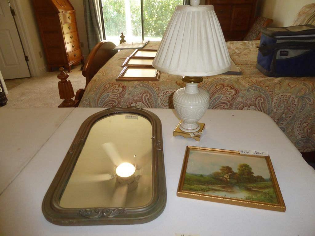 Lot # 157 - Antique Wooden Framed Wall Mirror, Framed Vintage Print & Lenox Table Lamp (main image)