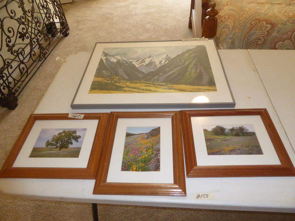 Lot # 158 - Framed Watercolor Painting by B. Montague & Three Framed Photos (main image)