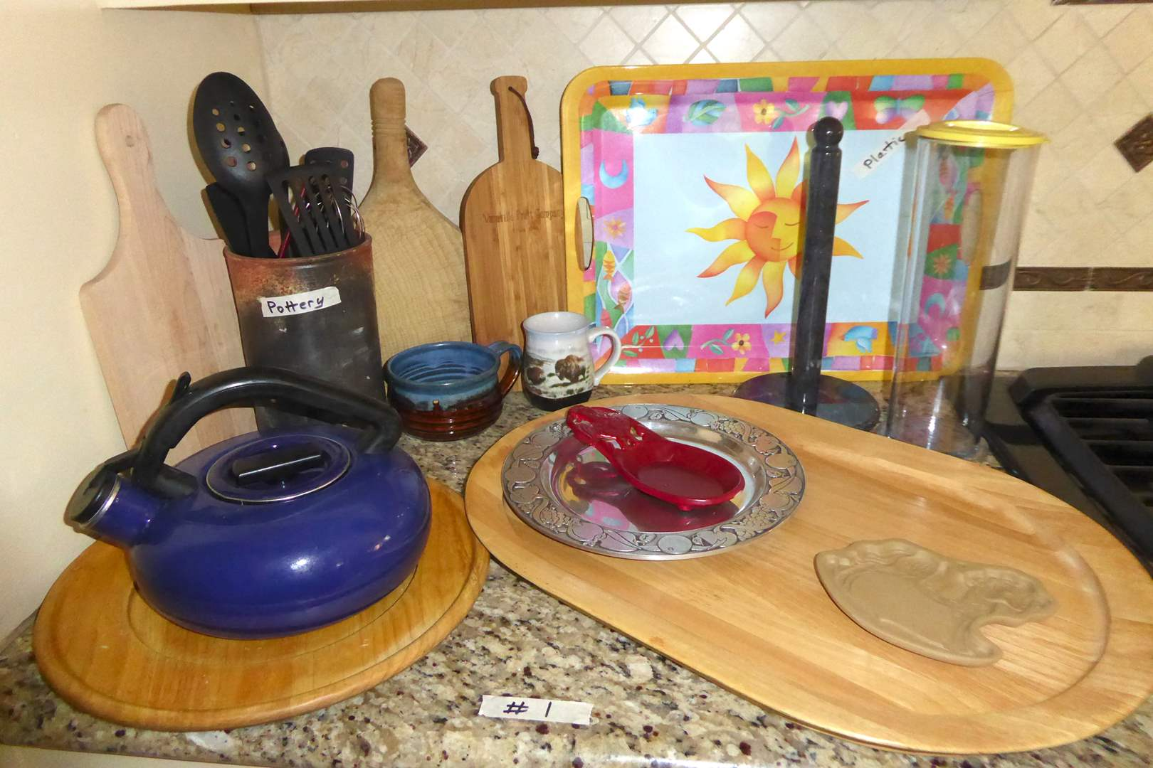 Lot # 1 - Wooden Serving Tray & Cuttings Boards, Tea Pot, Paper Towel Holder & More  (main image)