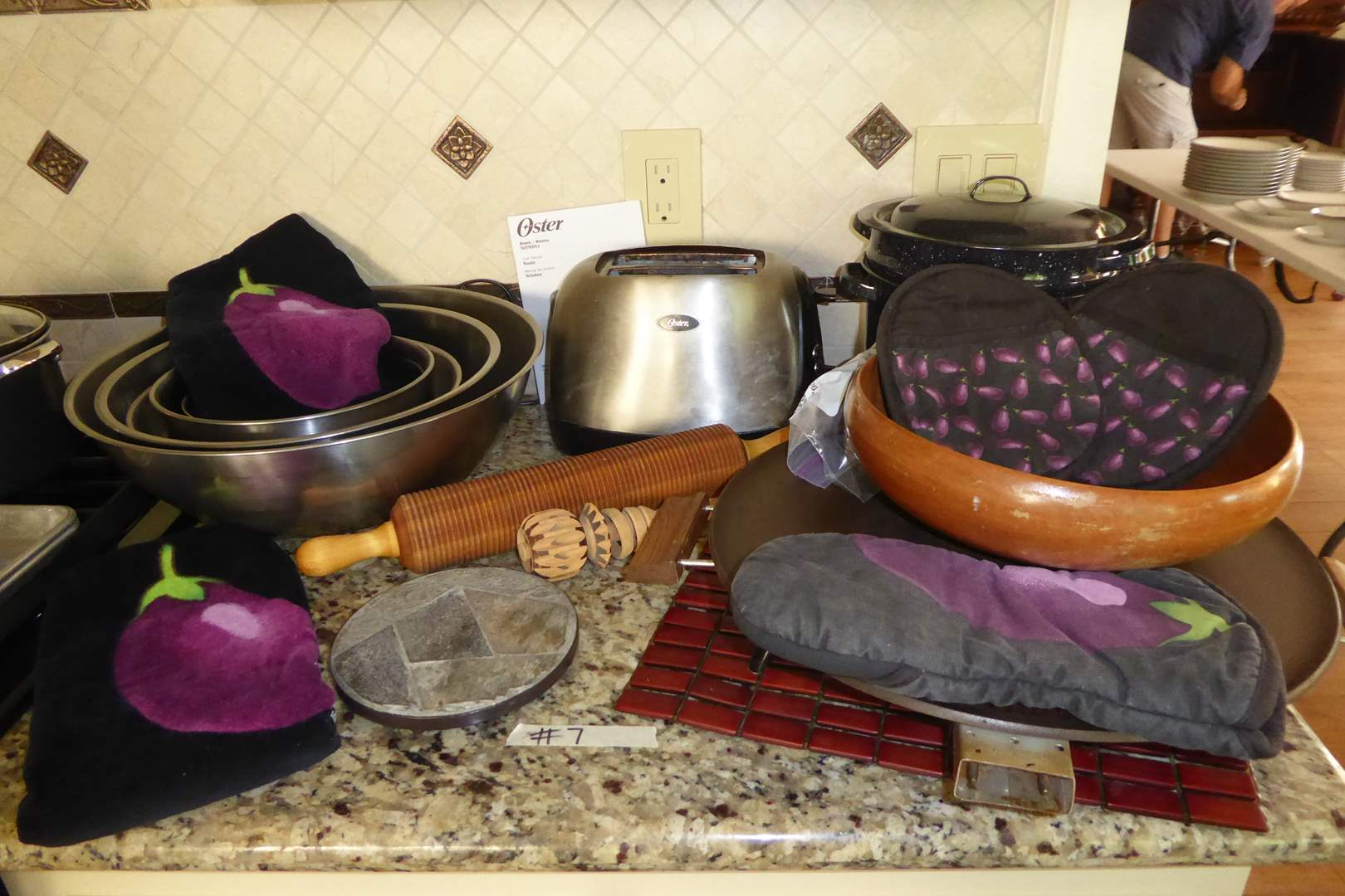 Lot # 7 - Wooden Rolling Pin, Speckled Roasting Pots, Electric Griddle & Eggplant Towels  (main image)