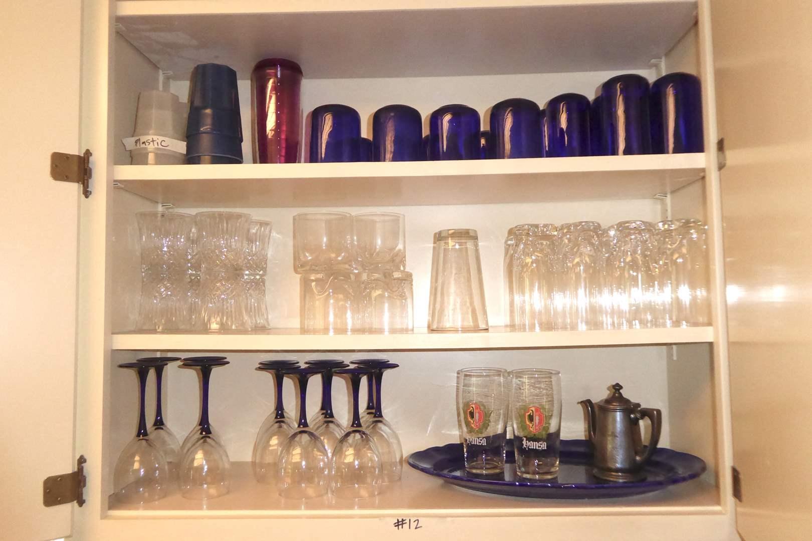 Lot # 12 - Small San Jose Hospital Tea Pot, Pretty Blue Glasses, Clear Glasses & Stemware (main image)